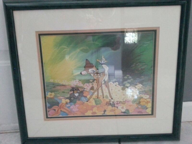 Disney Bambi Animation Art Cel Sericel Signed By Marc Davis Framed
