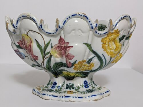 18th Century French Faience Wine Glass Cooler/Bowl/Centerpiece. Museum Quality
