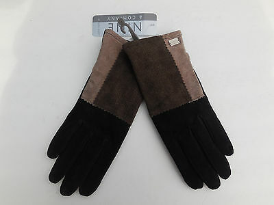 **NINE & COMPANY LADIES BROWN & BLACK SUEDE GLOVE POLYESTER LINING SIZE LARGE