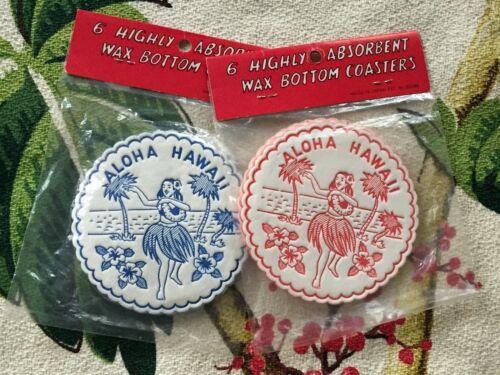 Vtg MIJ Aloha Hawaii HULA GIRL COASTERS Wax Bottom Set of 12 Blue & Red  NOS/MIP