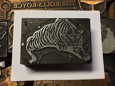 Large Antique Vtg Wood Metal Tiger Letterpress Print Type Cut Ornament Block