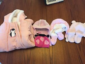3-6 months girls snow suite and accessories