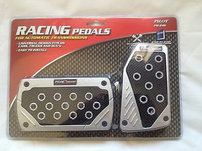 Univarsal Fit Black/Silver Racing Style Foot Pedals Pad Covers Auto Transmission