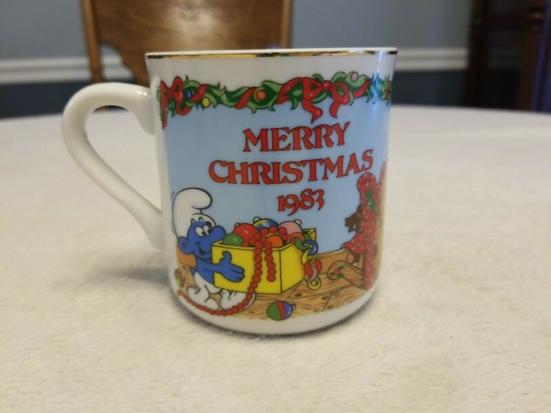 Vintage Smurfs Merry Christmas 1983 Coffee Mug