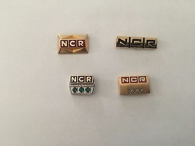 4 NCR 14K 10K GOLD EMERALDS Employee Long Service PIN LOT Tie Tack CASH REGISTER