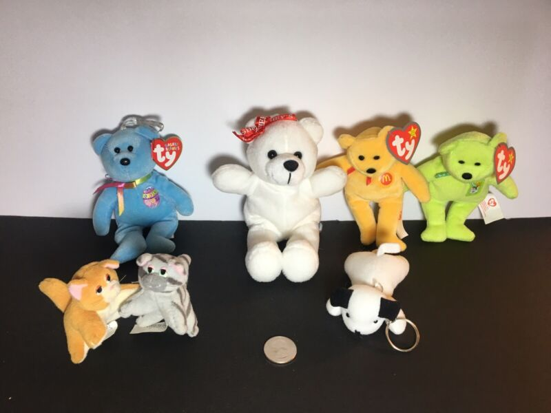 PLUSH TOY ASSORTED LOT OF 7-TY/MCDONALDS/HERSHEY/POUND PURRIES