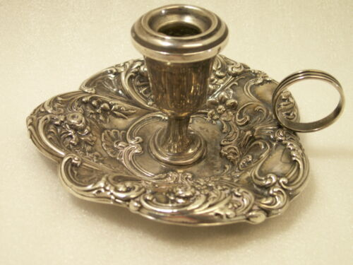 Gorham 324 Candle Holder Sterling Silver Repousse Hand Held Chamber Stick