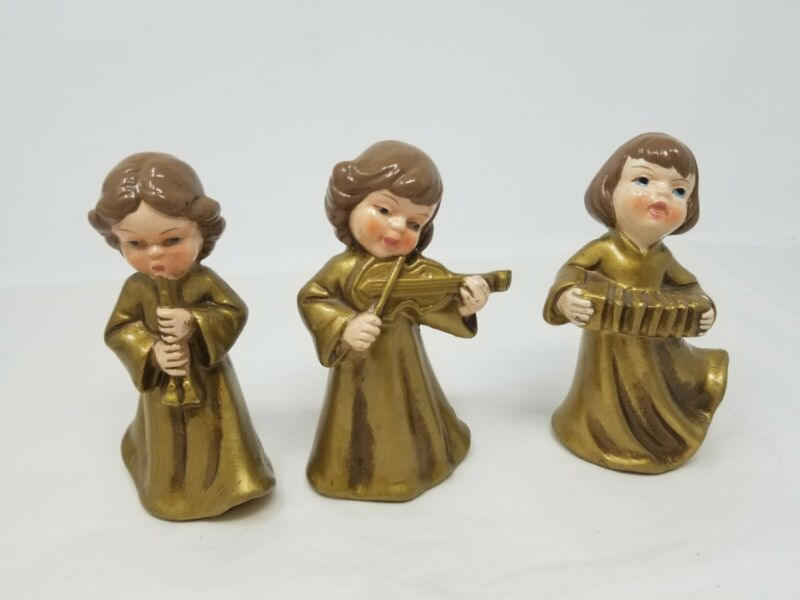 Vtg Christmas Angels Ardco Fine Quality Made In Japan Paper Mache Composition