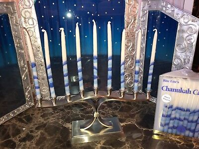 Hanukkah Candles Tri-Color Chanukah Blue/White Stripe & Brushed Nickel Menorah