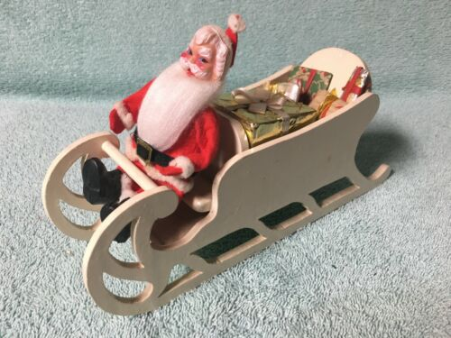 Vintage 1940's Santa Sleigh with Wrapped Presents and Vintage Santa Doll