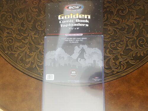 1 BCW Golden Age Comic Book Holder Rigid Sleeve Hard Plastic Topload Case Sheets
