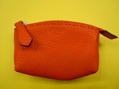 Fendi Red Leather Women's Beauty Case w/Tags & Storage Bag Never Used +GENUINE+