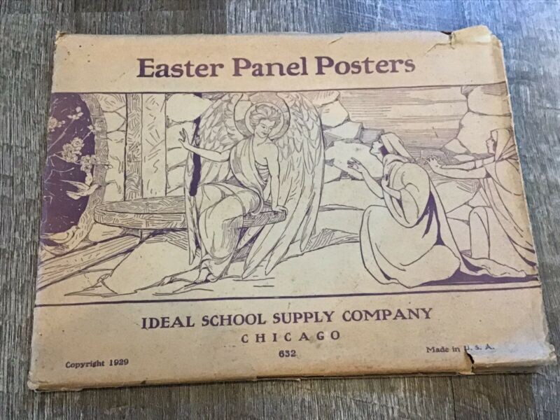 1929 Ideal School Supply Company Chicago Easter Panel Posters #632 IOP