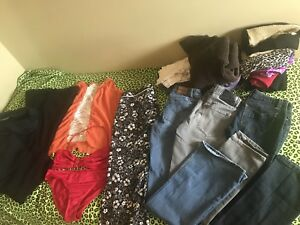 Size large and jeans size 7,2 dress pants size 30 and shirts