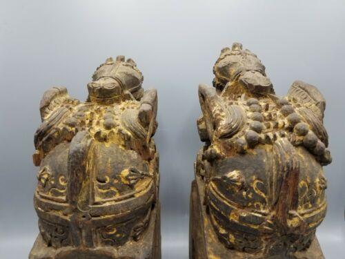 PAIR ANTIQUE BUDDHIST THAI BURMA TEMPLE SANCTUARY HORSE CARVINGS THAILAND BUDDHA