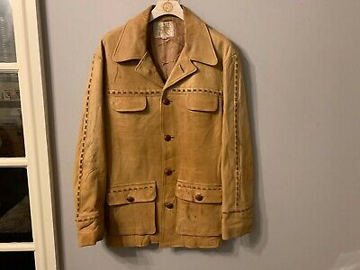 VINTAGE J.SULLY DISTRESSED LEATHER MOTORCYCLE JACKET SIZE 44
