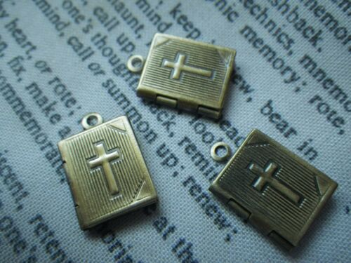 Book Locket with Cross Brass Ox Top Loop Side Hinge Half Inch 6 Pcs