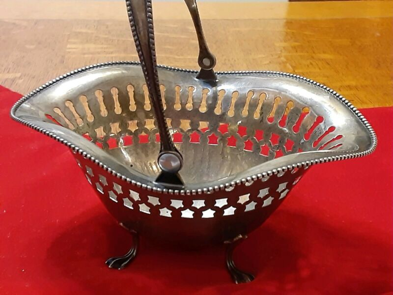 Antique Sterling Silver Candy,/ Nut Basket Footed With Handle