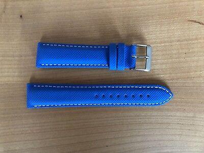 Fortis Leder- Performance- Armband blau, für alle Uhren mit Ansatzbreite 20mm