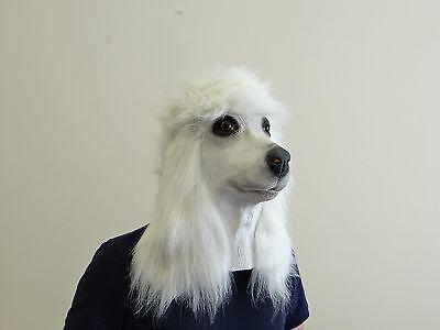 Rosa Pudel Hund Kostüm (Weißer Pudel Hund Maske Latex Hund Voller Kopf Tierkostüm Masken)