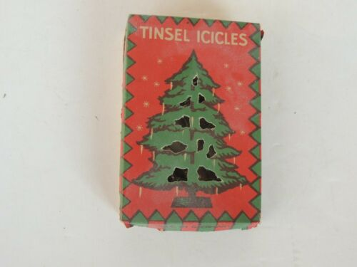 9 antique Christmas Tree Tinsel Icicles ornaments w/1 box 4 x 2.75 Graphics lead
