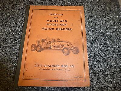 Allis Chalmers Model Ad3 Ad4 Motor Road Graders Parts Catalog Manual Book