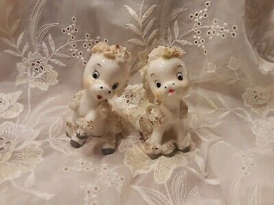 Vintage Ardnart Porcelain Spaghetti Donkey Figurine Set handpainted poodle dog