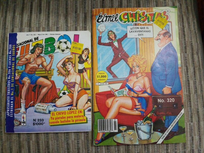 MEXICAN COMIC BOOK LOT OF 2 EL MIL CHISTES & SENSACIONAL DE FUTBOL SEXY WOMEN