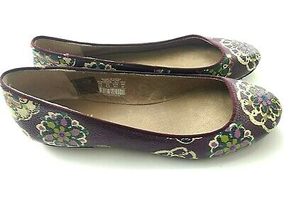 Fossil Brand Ballet Flats Shoes Slip Ons Floral Pattern Women's 5.5