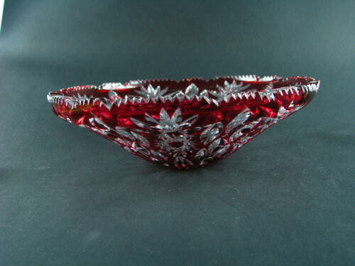 """BEST 10"""" Cranberry Cut to clear Art Glass Bowl Bohemian French Baccarat Quality"""