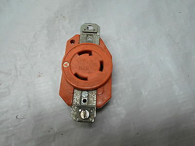 Used Hubbell 30a Twist Lock Receptacle 125v Orange In Color