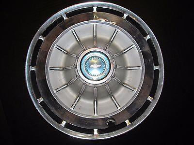 "Vtg Chev Blue Center 14"" Hub Cap Wheel Cover Impala Chevy II Belair"
