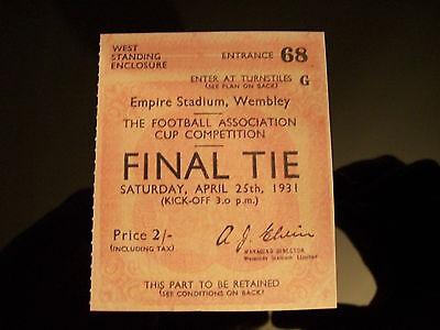 1931 F.A. Cup Final Ticket West Bromwich Albion v Birmingham mint condition.