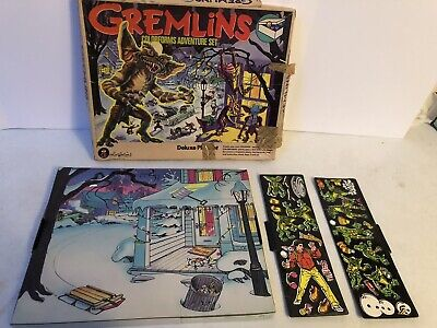 Vintage 1984 Gremlins Colorforms Adventure Deluxe Play Set Billy Gizmo Complete