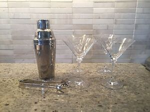 Beautiful Martini Set; Crystal and Stainless Steel