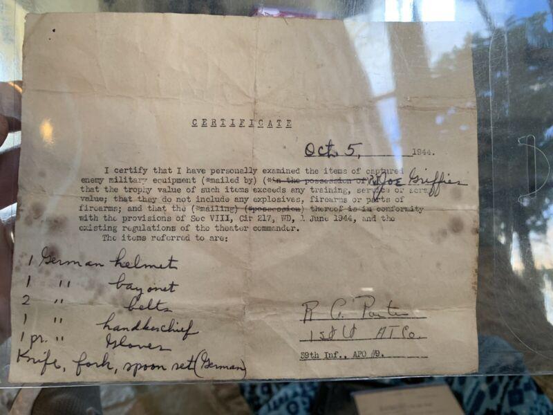WW2 US Bring Back Document For German War Souvenirs