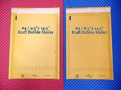 8 Kraft Bubble Envelope Combo 2 Large Sizes Self-sealing Padded Mailers