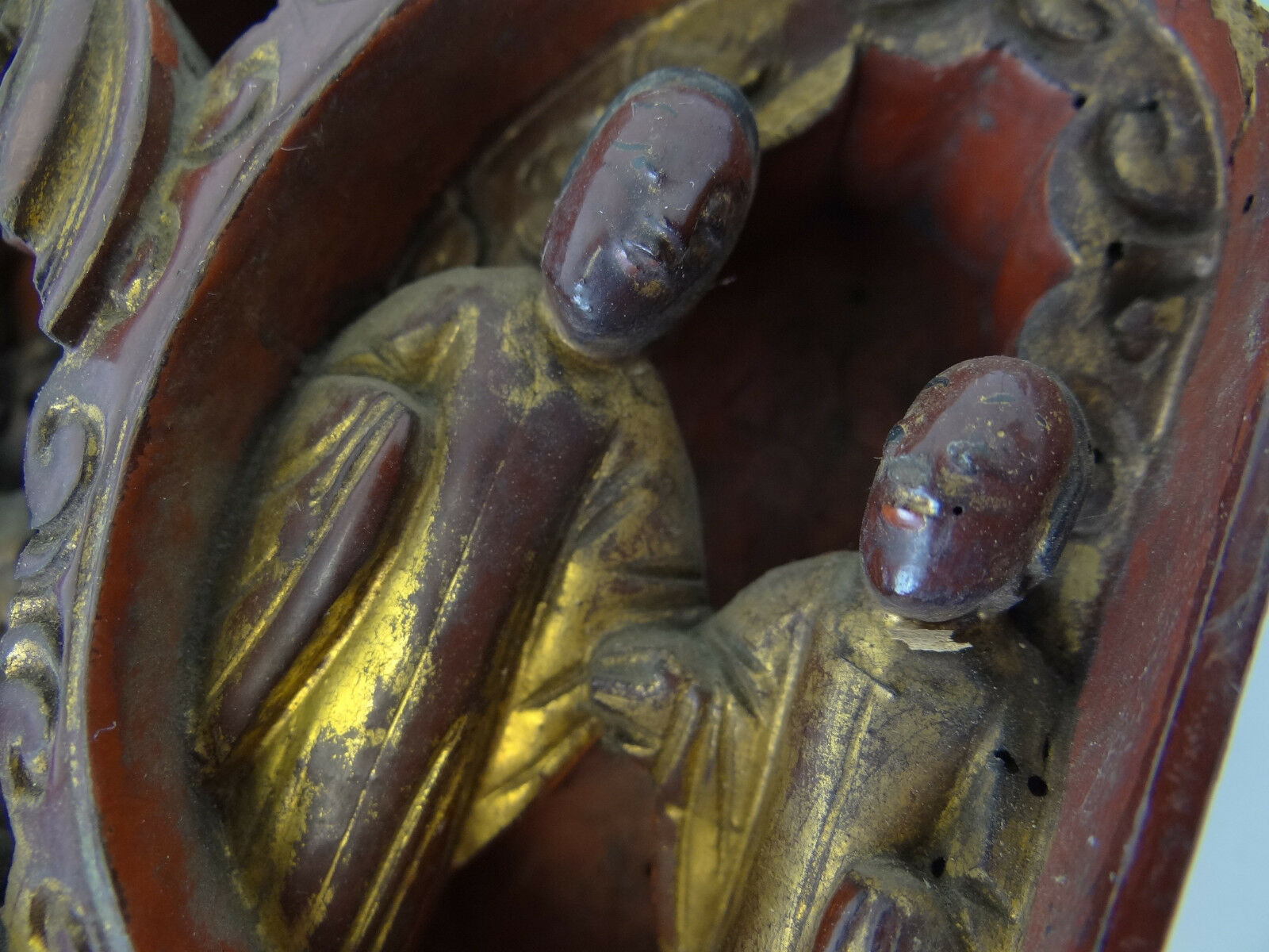Купить Antique Old Carved Chinese Painted Gold Scholars Carving Furniture Finial Part