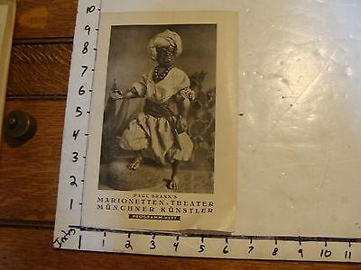 Vintage MARIONETTE Paper: 1920's PAUL BRANN'S MARIONETTEN THEATRE program MUNICH