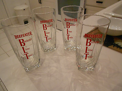 """(4) BEEFEATER GIN///LIME///TONIC TUMBLERS/HIGHBALL-EXCELLENT-6"""" TALL"""