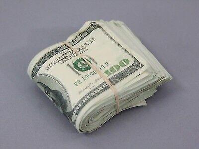 PROP MOVIE MONEY $100 AGED Blank Filler FOLD Play Fake Prop Movie Money