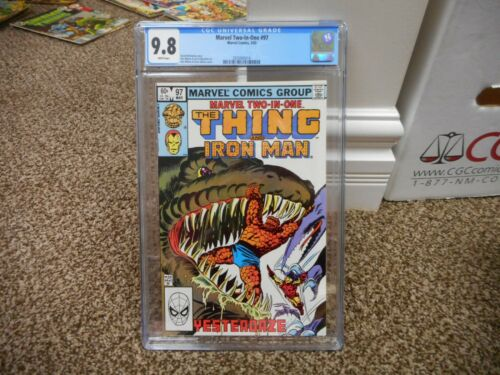 Marvel Two in One 97 cgc 9.8 Thing and Iron Man 1983 MINT WHITE pgs dinosaur cov