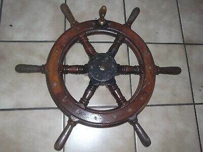Steuerrad aus Holz und massiver Messingnabe 45 cm Rustikal