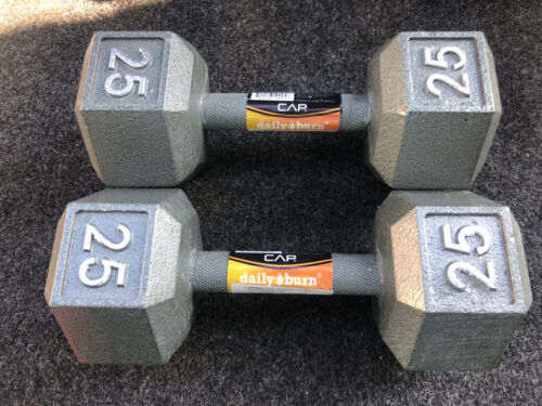 🔥Two  25 Lb CAP Cast Iron Hex Dumbbells Weights ⚡️FRE
