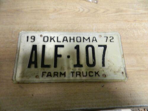 Vintage Antique 1972 Oklahoma Farm Truck License Plate  ALF 107