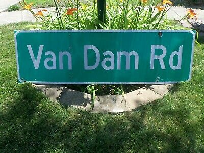Vintage Van Dam Rd Road Street Sign Automobilia Transportation Reflective Green