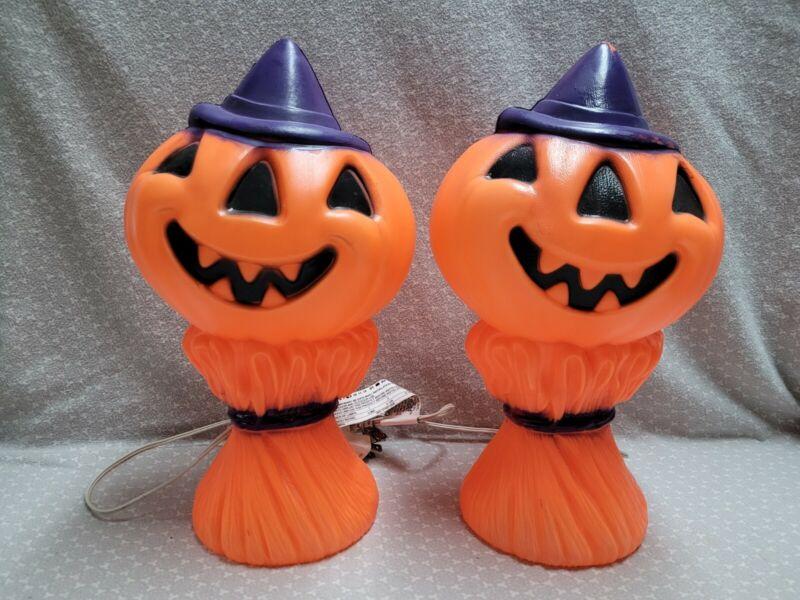 VTG General Foam Plastic Halloween Pumpkin Jack Lantern Scarecrow Blow Mold Set