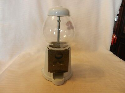 Small White Metal Gumball Candy Machine With Hearts 9.5
