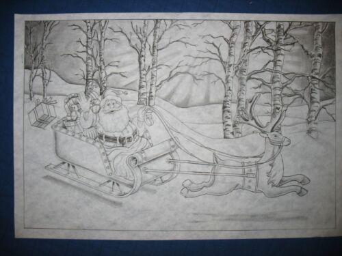 * TRI CHEM 7207 DASHING THROUGH THE SNOW SANTA SLEIGH Picture to paint TRICHEM
