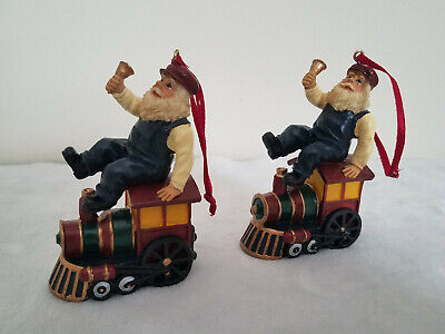 Traditional Style Christmas Ornaments Set of 2 Santa Claus Riding Train Engine